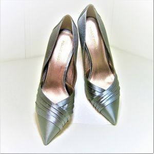 HEELS NWT 6.5 M PEWTER SATIN/BEDAZZLED